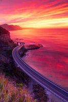 Beautiful sunrise over Illawrra coast with Sea Cliff Bridge