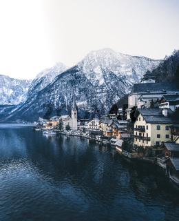 Classic postcard view of Hallstatt in austria
