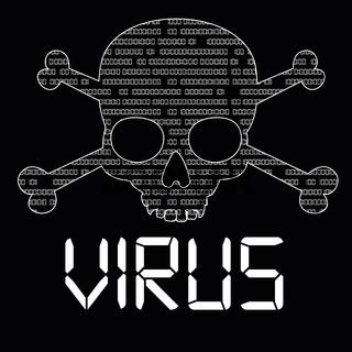 Black Data Virus Skull