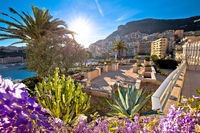 Monte Carlo yachting harbor and colorful waterfront architecture view