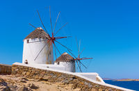 Old windmillls in Mykonos island in Greece