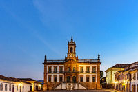 Ouro Preto central square with its historic buildings, houses and monuments
