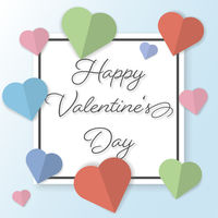 cheerful Happy Valentines Day greeting card with pastel colored paper cut hearts