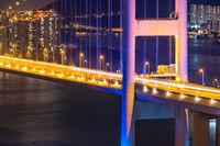 Sunset and light illumination of Tsing ma bridge landmark suspension bridge in Tsing yi area of Hong Kong China.
