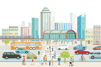 Big city with train station, bus, and pedestrian crossing