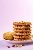 Stack of shortbread cookies in the shape of rings.