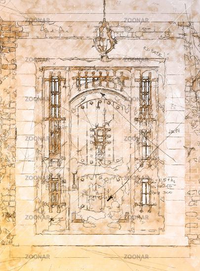 Artist Rendering Sketch of Beautiful Luxury Residential Front Door