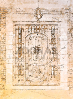 Artist Rendering Sketch of Beautiful Luxury Residential Front Door