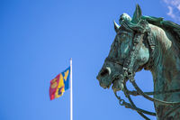 Horse statue in front of royal palace in Stockholm