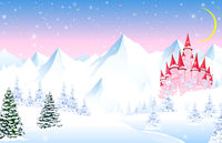 Fairy tale castle on a background of a winter forest and snowy mountains