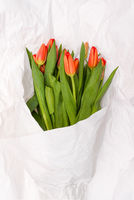 A bouquet of red tulips is wrapped in white paper. Beautiful spring flowers for the holiday. Romantic bouquet and crumpled paper texture.