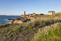 Cote de Granit Rose lighthouse and house