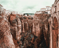 Amazing view of the Ronda canyon and the famous white village. Province of Malaga, Andalusia, Spain