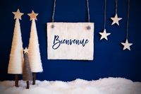 Christmas Tree, Blue Background, Snow, Bienvenue Means Welcome