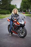 Blond motocyclist