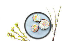 Easter cakes on a gray plate. Religious holiday. Place under the text. Easter banner. Frosting on the sandwich.