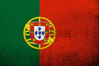 The Portuguese Republic (Portugal) National flag. Grunge background