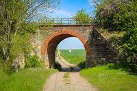An old one-way railway bridge still preserved.