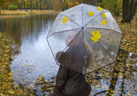 woman under a transparent umbrella on autumn day on the river shore