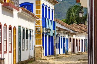 Streets of cobblestone and old houses in colonial style on the old and historic city of Paraty