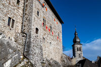 Low angle view at  Stolberg castle and church tower in Stolberg, Eifel