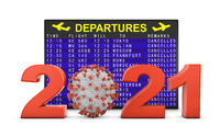 Coronavirus and 2021 next to departure board