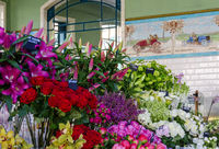 colorful flowers at a sale kiosk