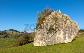 Grosser Fels auf der Seiser Alm, Alpe di Siusi, Suedtirol