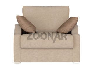 Armchair made of fabric with two pillows on a white background
