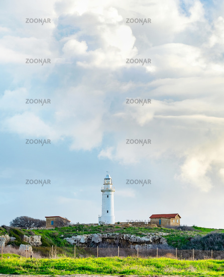 Clouds  lighthouse  seaside  Paphos  Cyprus
