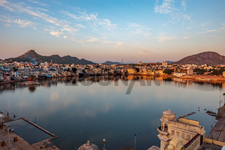 Pushkar is a town in the Ajmer district in the Indian state of Rajasthan.