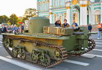 Tourists visiting the Soviet small amphibious tank T-38 at the P