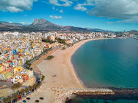 Villajoyosa townscape aerial view. Spain