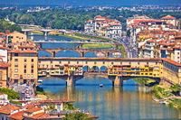 Florence city Arno river and ponte Vecchio aerial view