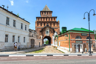 Pyatnitsky Gate of Kolomna Kremlin and museum of Kalach In Kolomna