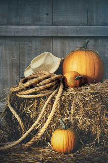 Pumpkins with rope and hat on hay