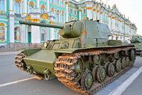Soviet heavy tank KV-1 on the background of the Winter Palace