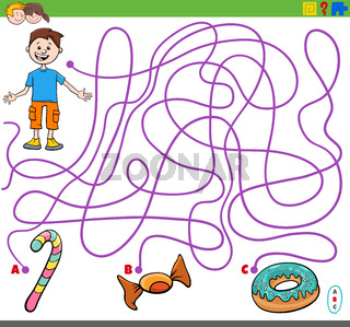 maze game with boy and sweet food objects