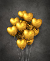 Gold heart shape air balloons group on a concrete background