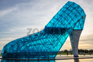 giant glass cinderella shoe church