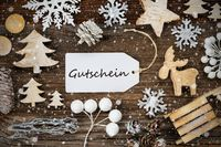 Label, Frame Of Christmas Decoration, Gutschein Means Voucher, Snowflakes