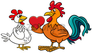valentine card with hen an rooster in love