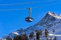 Ropeway cabin of the Diavolezza cable car, skiing area Diavolezza-Lagalb, Pontresina, Val Bernina
