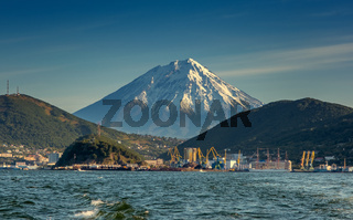 Petropavlovsk-Kamchatsky ocean and volcano