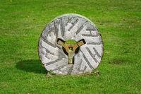 Millstone on the grass