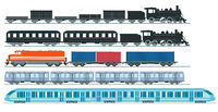 Express train freight train steam locomotive, railroad car. Freight, set - vector illustration