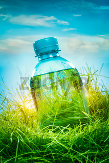 Water bottle on the grass