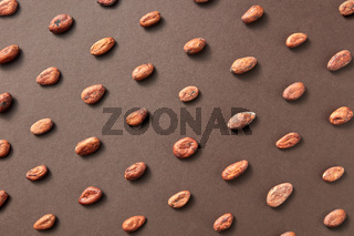 Creative background from cocoa beans.