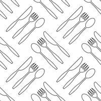 Food Seamless Pattern for Cafe. Fork Spoon Knife Logo Design Isolated on White Background