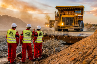 Large Dump Trucks transporting Platinum palladium ore for processing with mining safety inspectors in the foreground